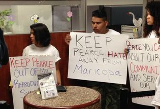 Protesters Demand Pearce's Firing