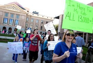 Hundreds Rally Against Education Budget Cuts