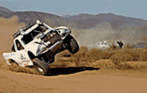 Waaaay off-road: A truck careens out of  control during the Baja 1000 in Dust to Glory.