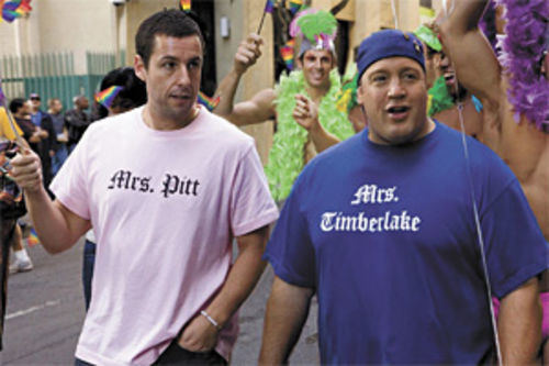 Going all the way: Adam Sandler and Kevin James are BFF (and then some) in I Now Pronounce You Chuck & Larry.