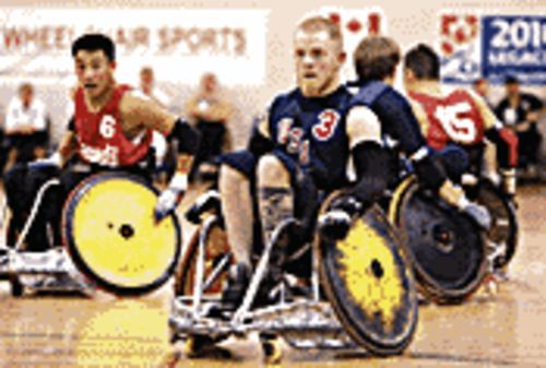 Hell on wheels: Mark Zupan is the leader of Team USA's quadriplegic rugby team in Murderball.