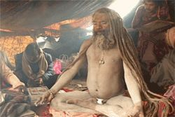 Yogi bare: Naked in Ashes &quot;star&quot; Shiv Raj Giri gets his meditation on.