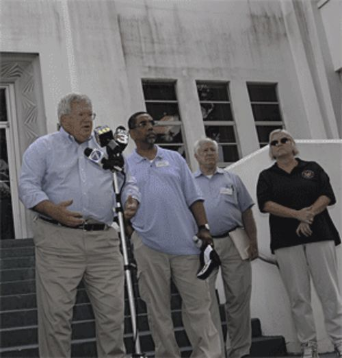 House Speaker Dennis Hastert (left), shown with Kolbe (third from left) at an unrelated press conference, has been accused of covering up for Foley.