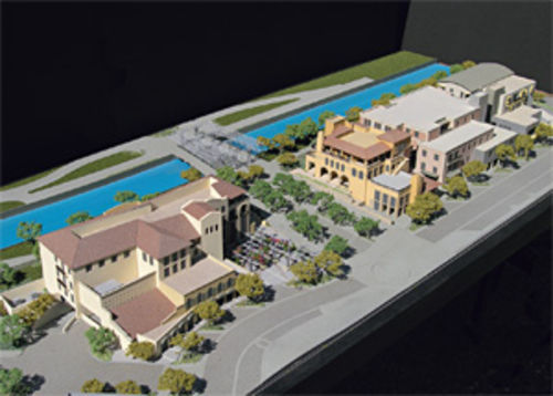 A rendering of SouthBridge, Fred Unger�s mixed-use village, which backs up to the Arizona Canal in downtown Scottsdale.
