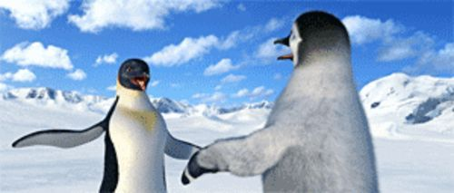 Ice, ice, baby: Gloria (Brittany Murphy) and Mumble (Elijah Wood) are looking to hook up in Happy Feet.