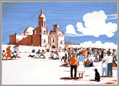 Festival at San Xavier del Bac, book illustration, 1961
