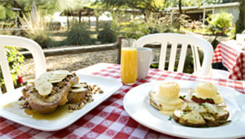 Eye openers: Tasty breakfast dishes compete with peaceful scenery at Morning Glory Cafe.