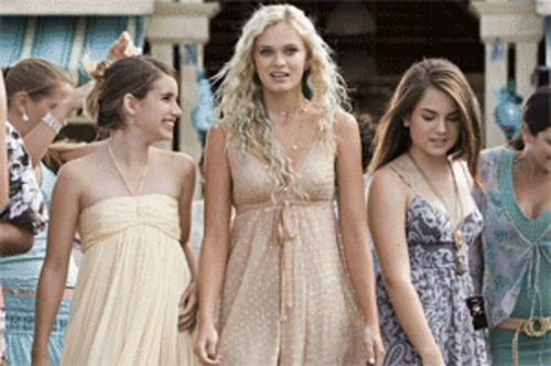 "Best friends forever: Emma Roberts (left) and Joanna ""JoJo"" Levesque (right) take mermaid Sara Paxton under their wing in Aquamarine."