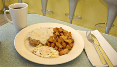 Hop on this gravy train: Over Easy's chicken-fried steak gets the day off to a good start.