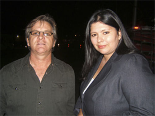 On the ramparts: Immigrant rights activist Dennis Gilman and Guadalupe Mayor Rebecca Jimenez.