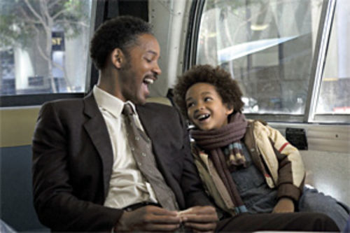 On the money: Will Smith and Jaden Christopher Syre Smith (above and below) are a father and son trying to make ends meet in The Pursuit of Happyness.