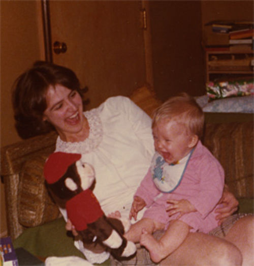 The author and her mother share a laugh in 1977.