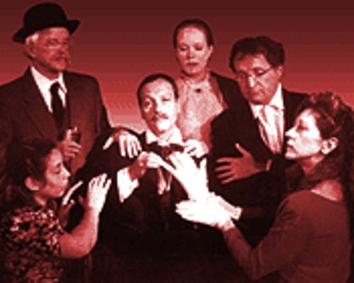 Jere Luisi (center) as Louis Moreau Gottschalk, with (clockwise from lower left) Ashley Pike, Gordon Giles, Jacquelyn Cody, Joe Schwartz and Lucy Payjack, in The Man With the Ladylike Hands. Their performances can't overcome a sense of something missing.