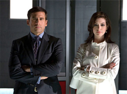 A smarter Maxwell Smart: Steve Carell and Anne Hathaway cut up nicely in Get Smart.