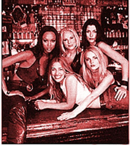 Coyote Ugly: Top, from left, Tyra Banks, Maria Bello, Bridget Moynahan, and bottom, from left, Piper Perabo and Izabella Miko.