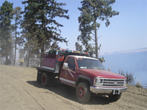 Guadalupe's new(ish) wildfire-fighting truck, built from used parts rummaged on eBay.