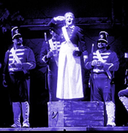 Tracy Dahl (center) in Gaetano Donizetti's The Daughter of the Regiment.