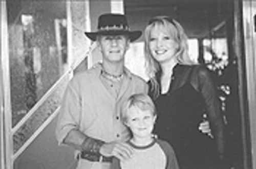 Paul Hogan, real-life love Linda Kozlowski and Serge Cockburn, who plays their son.