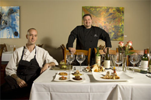 Two's company: Chefs Joshua Riesner (left) and Brandon Crouser are the creative team behind Atlas Bistro.