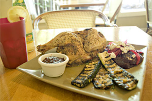 Hope you're hungry: La Piccola Cucina's chicken Provençal, roasted beets, and grilled eggplant.