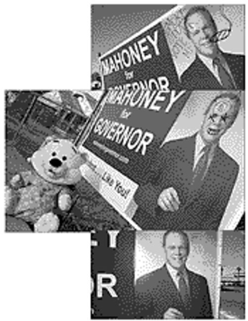 Someone's been defacing Dick Mahoney's big ugly campaign signs in Tempe. The Spike applauds this kind of public art.