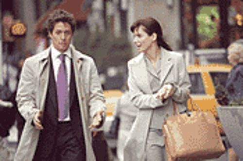 Job insecurity: Hugh Grant and Sandra Bullock have great chemistry, but they're the only reasons to see Two Weeks Notice.