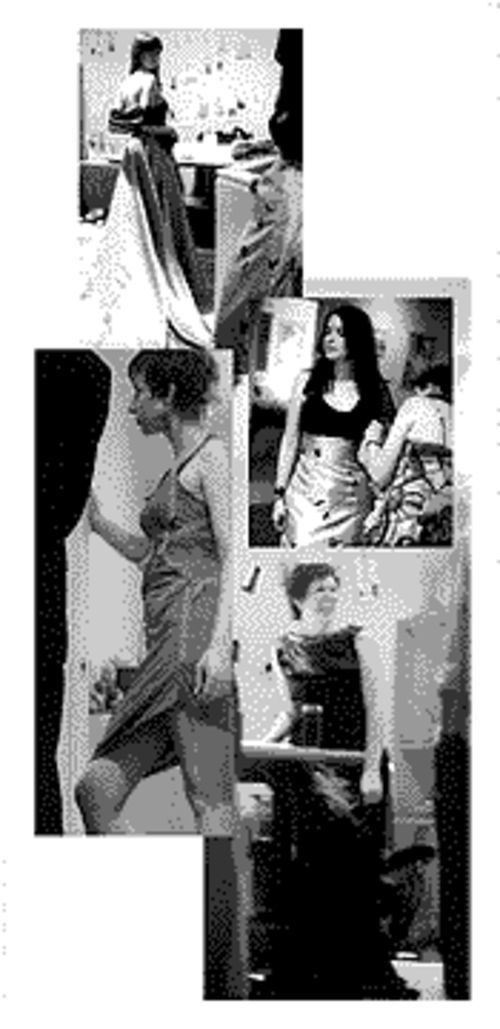 Clockwise from top: A model in one of Casey Pearson's gowns; Pearson conducting a fitting; Angela Johnson; Jen Lafferty in a dress designed by Johnson.