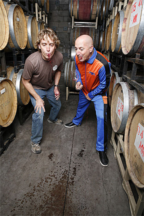 Spit: Glomski and Keenan put in a hard day's work in the barrel room at Page Springs Cellars.