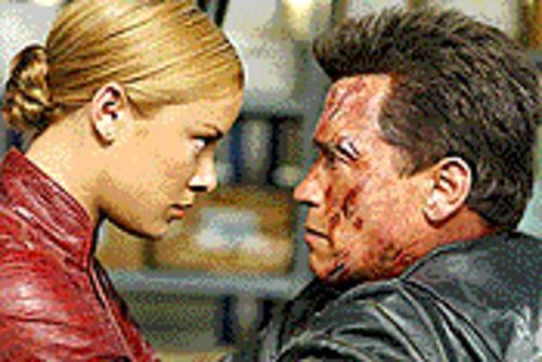 Kristanna Loken and Arnold Schwarzenegger in Terminator 3: Rise of the Machines.