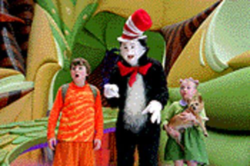 "Oh no! Oh no! This will never do! If you see this movie, you might cry ""Boo hoo"": From left, Spencer Breslin, Mike Myers and Dakota Fanning in Dr. Seuss' The Cat in the Hat ."