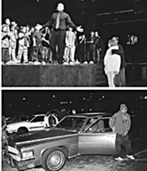 Top: As the show ends, Stewart morphs from Satan into preacher and makes his altar call. His first two takers come forward to accept Jesus. Above: In the parking lot at the River of Life after the show, kids assemble to caravan to Mill Avenue for freestyle witnessing.