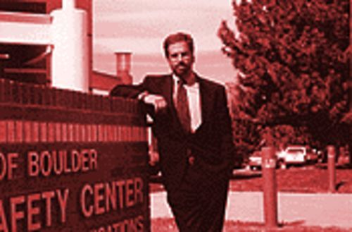 Dr. Steven Pitt outside the Boulder Police Department.