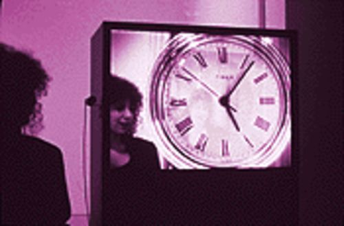 Time machine: Digital Watch, an interactive video installation, by Jim Campbell.