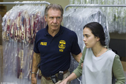 ICE prince: Harrison Ford has a hand in saving Alice Braga's illegal immigrant in Crossing Over.