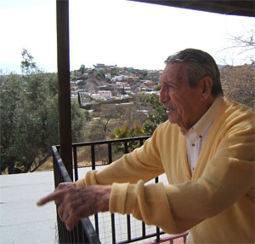 Former Arizona Governor Raul Castro on his porch in Nogales, overlooking the U.S.-Mexico border.