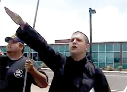 J.T. Ready (left) and Thomas Coletto, sieg heil-ing the May 2 marchers.