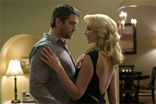 Out of step: Gerard Butler and Katherine Heigl do the predictable romantic-comedy dance in The Ugly Truth.