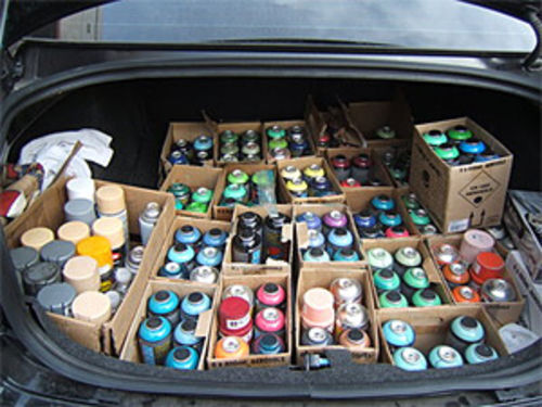 DOSE's palette, in the trunk of his ride.