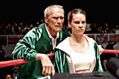 Fight club: Clint Eastwood is boxing trainer Frankie Dunn, and Hilary Swank his prize protégée, in Million Dollar Baby.