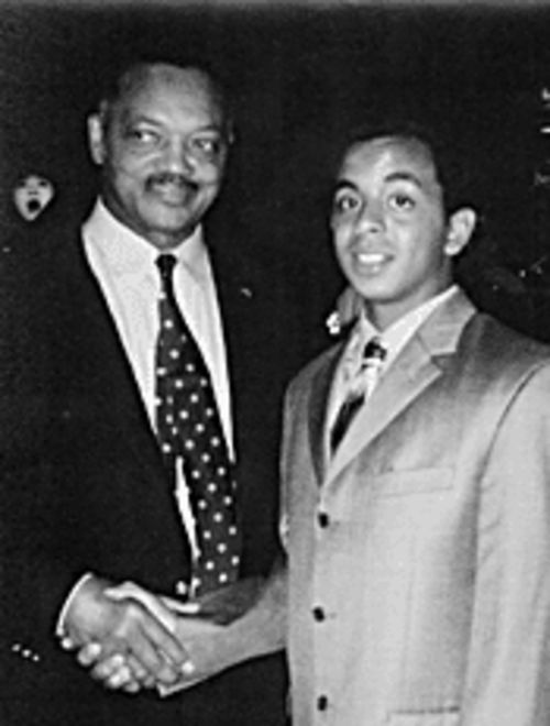 "With Jesse Jackson: ""He truly is one of our future  leaders,"" says Representative Leah Landrum Taylor of Maupin."