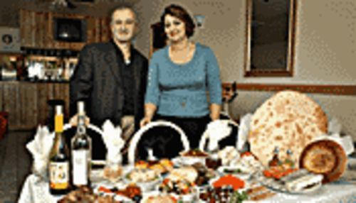 Uzbek spread: Samarkand co-owners Motik Baybachayez  (left) and Mira Malayeva before an array of delightful  delectables.