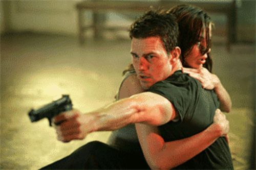 Cruise control: Tom Cruise saves Michelle Monaghan from certain doom in Mission: Impossible III.