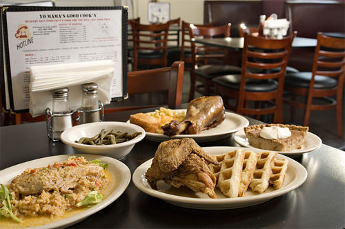 We're not sure if the food at Yo Mama's is actually good for your waistline -- fried chicken and waffles, anyone? -- but it's definitely soul-satisfying.