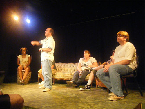 Sam Haldiman (right) performs at a Torch Theatre gig.