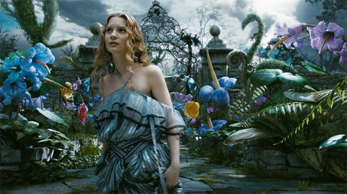 Land down under: Mia Wasikowska goes down the rabbit hole in Tim Burton's Alice in Wonderland.