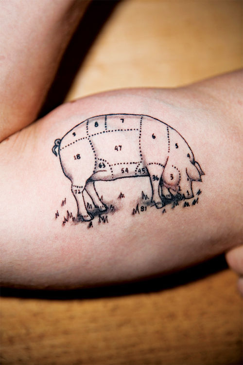 Posh chef Tyler Burke's bicep, depicting a pig butcher's diagram.