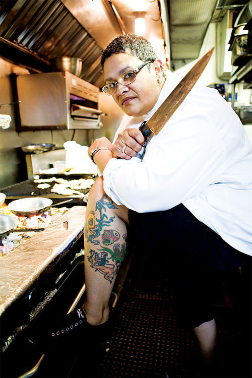 "Barrio Cafe chef-owner Silvana Salcido Esparza's ""La Azteca"" is one of many tattoos that celebrate both her Mexican heritage and her love of food."