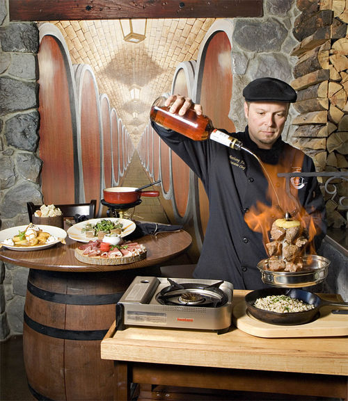 Executive chef/owner Anthony Ferré prepares La Potence, a Le Chalet specialty.