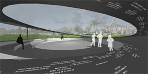 Big steel Frisbee: A rendering of the AZ 9/11 Memorial being built downtown.