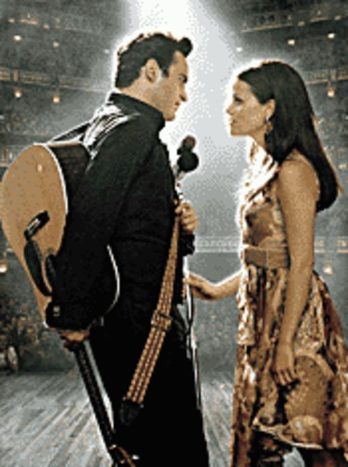 Joaquin Phoenix and Reese Witherspoon portray Johnny Cash and June Carter in Walk the Line.